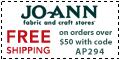 Free shipping at Joann.com!  Code:  DECFSA625
