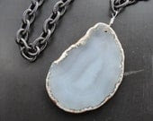 Cloudy Gray Agate Slice Pendant Iron Chain Choker REDUCED