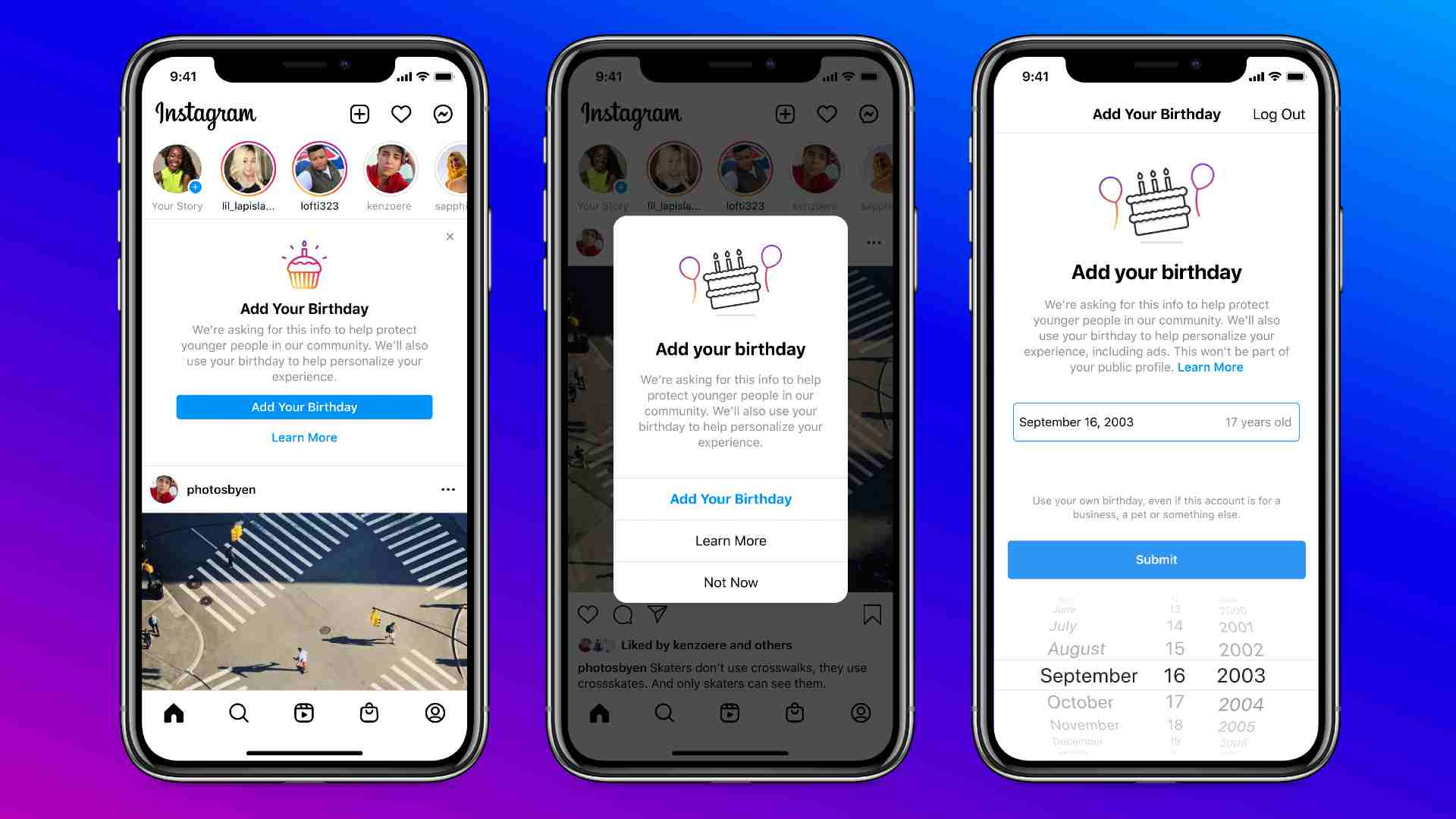 Instagram is understood to be working on an AI-driven function that will prevent users from providing incorrect birthday details. Image: Instagram