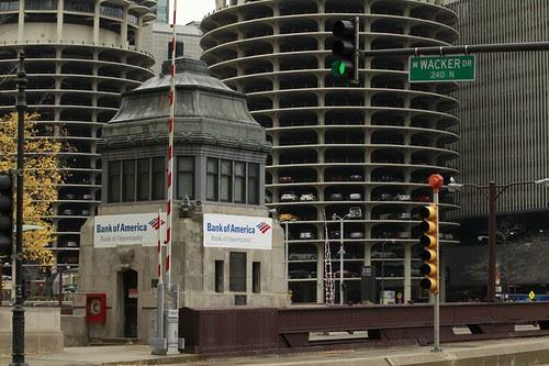 Bank of America advertisement on the Wabash Avenue Bridge, Chicago