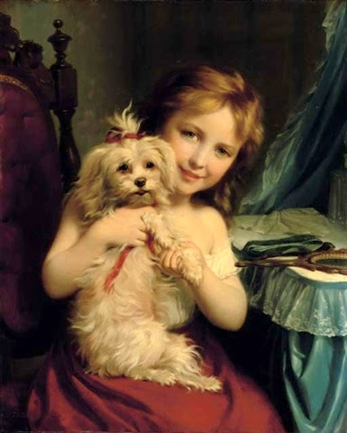 A Young Girl With A Bichon Frise