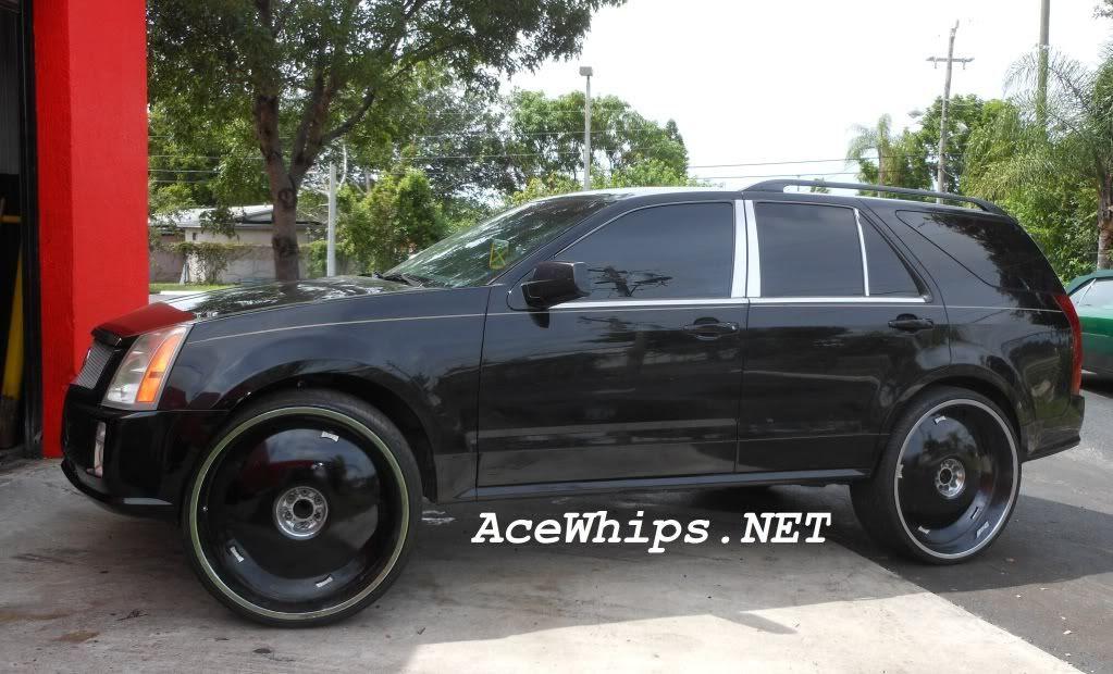 """Ace-1: WTW Broward- Black Cadillac SRX on 28"""" DUB Swyrl ..."""