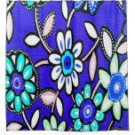 Funky Retro Blue Flowers Shower Curtain