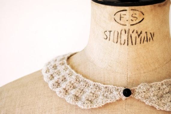 Grey Peter Pan Collar, alpaca, hand-crocheted, ready to ship