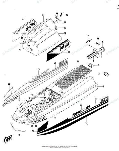 Kawasaki Jet Ski 1980 OEM Parts Diagram for HULL/ENGINE