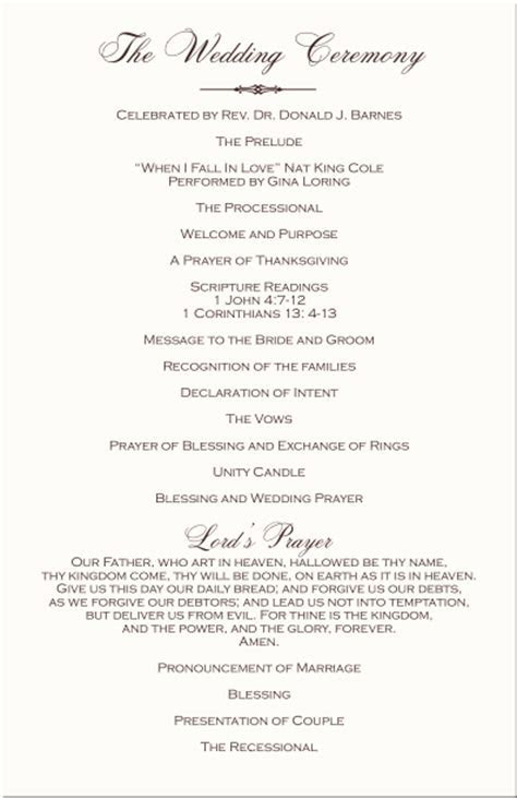 Wedding Programs Wedding Program Wording Program Samples