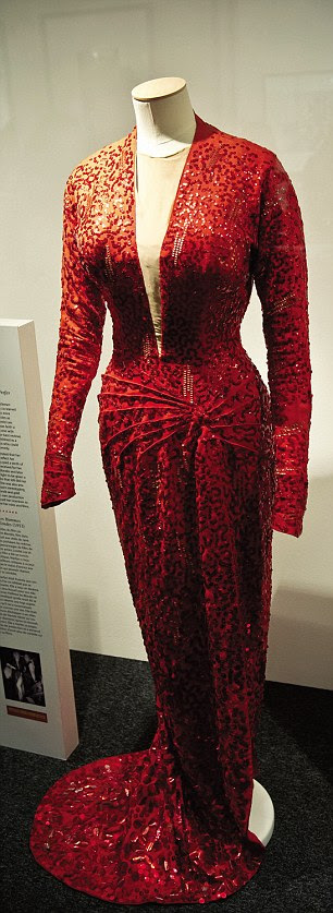 A red gown worn by Marilyn is on show at the gallery