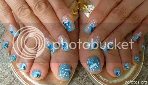 unhas decoradas azuis