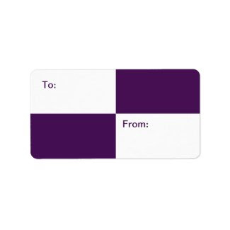 Royal Purple and White Rectangles gift tag Custom Address Labels