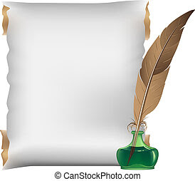 Vector of Ancient scroll and inkstand with a quill pen csp31753180 ...