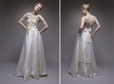 Ivory a line silk satin strapless wedding dress with gold