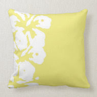 Abstract White Hibiscus Flowers on Yellow throwpillow