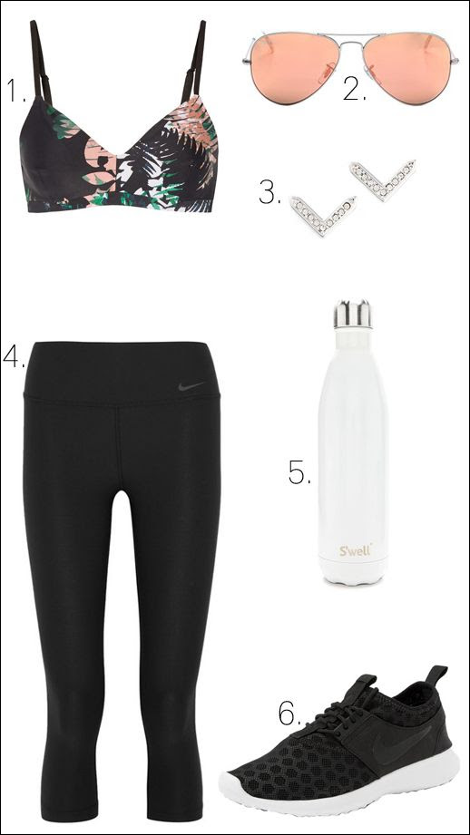 Le Fashion Blog Chic Activewear Workout Style The Upside Print Bra Ray Ban Pink Aviators Nike Leggings V Earrings Swell Water Bottle Juvenate Sneakers