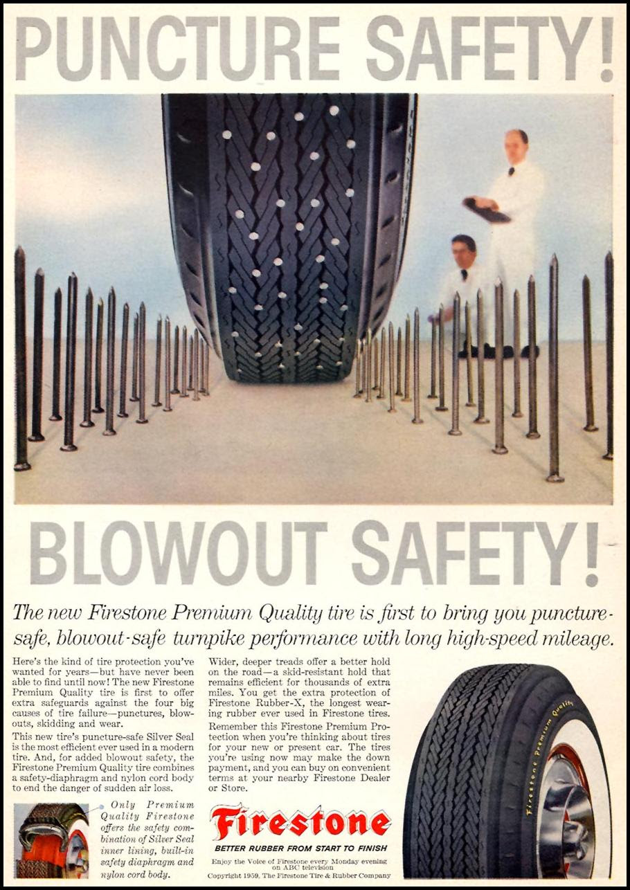 FIRESTONE PREMIUM QUALITY TIRES SPORTS ILLUSTRATED 04/27/1959 p. 10
