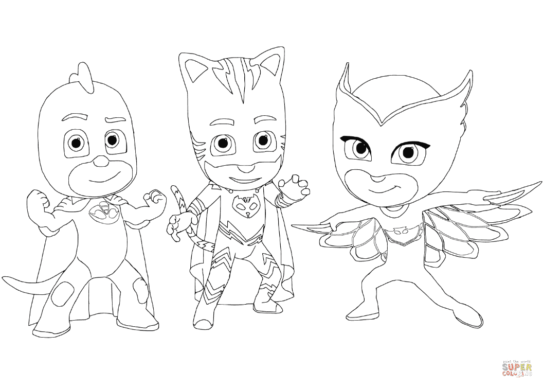 Gecko, Catboy and Owlette coloring page | Free Printable ...