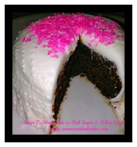 Black cake/ Jamaican Rum cake with pink sugar and white