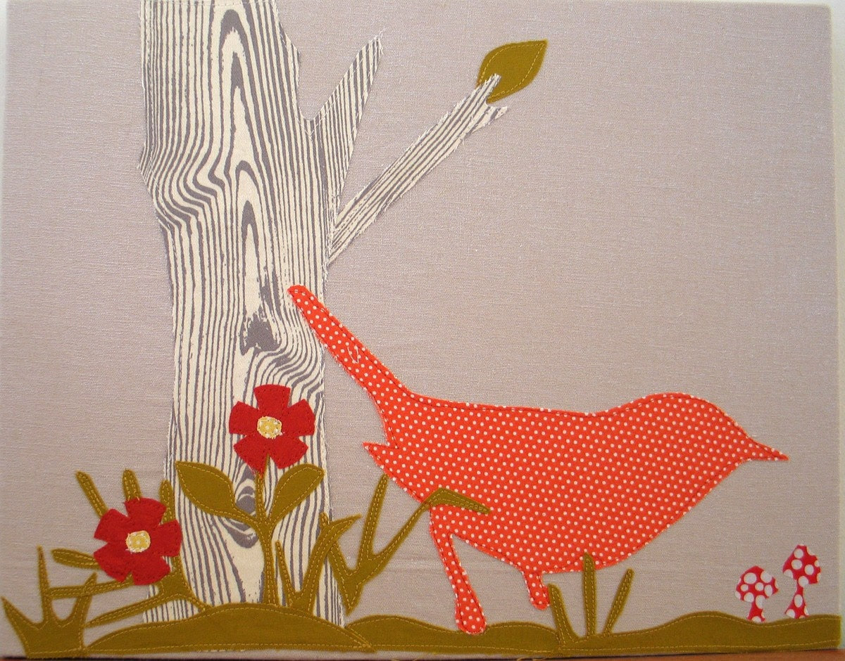 Orange Polka Dot Bird Stretced Canvas