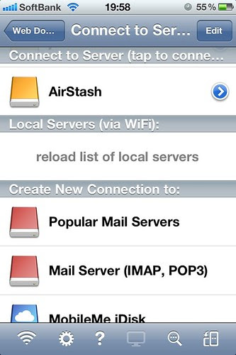 GoodReader : connect to AirStash