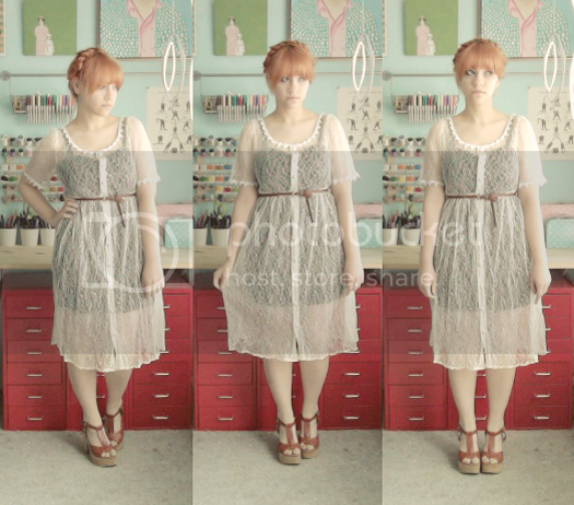 scathingly brilliant sheer vintage dress with blowfish shoes and milkmaid braids