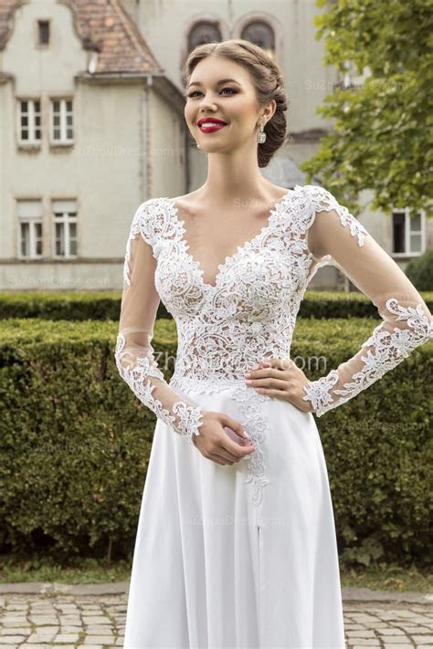 Most Popular Lace Chiffon Bridal Dress Appliques Side Slit