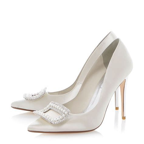 Dune Bouquets Satin Pointed Stiletto Bridal Shoes in White