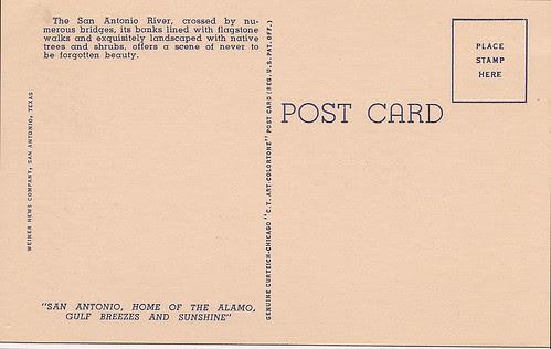 River Walk Postcard San Antonio