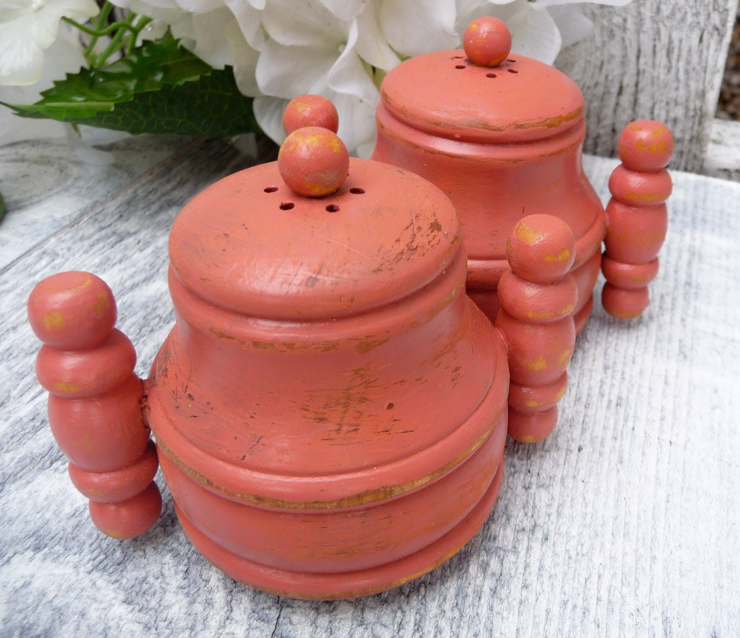 Shabby Chic Small Salt and Pepper Shakers, Coral
