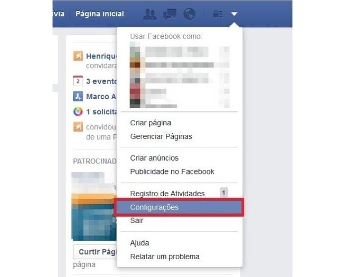 Atalho para as configurações do Facebook (Foto: Reprodução/Lívia Dâmaso)