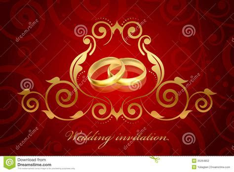 Red And Gold Wedding Invitation Stock Photography   Image