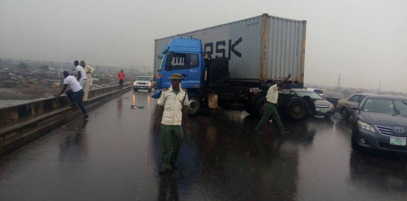 Image result for Four dead, two injured, as truck hits bus on Kara bridge