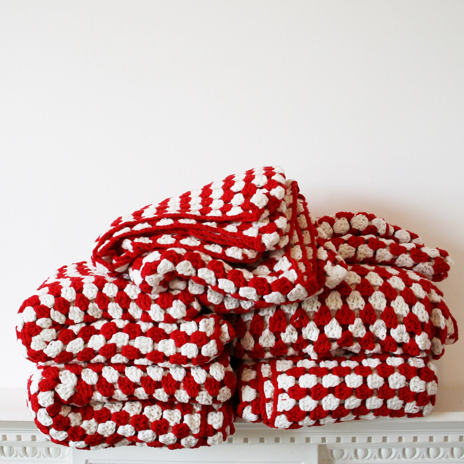 Red and White Stripe Cotton Crochet Blanket