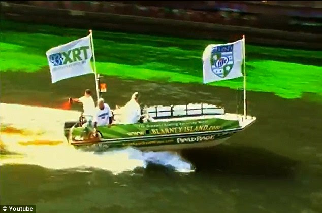 Seeing green: In Illinois, the Chicago River was dyed green with the help of several speed boats for their annual festivities