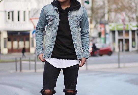 Black Jean Jacket With Hoodie Outfit