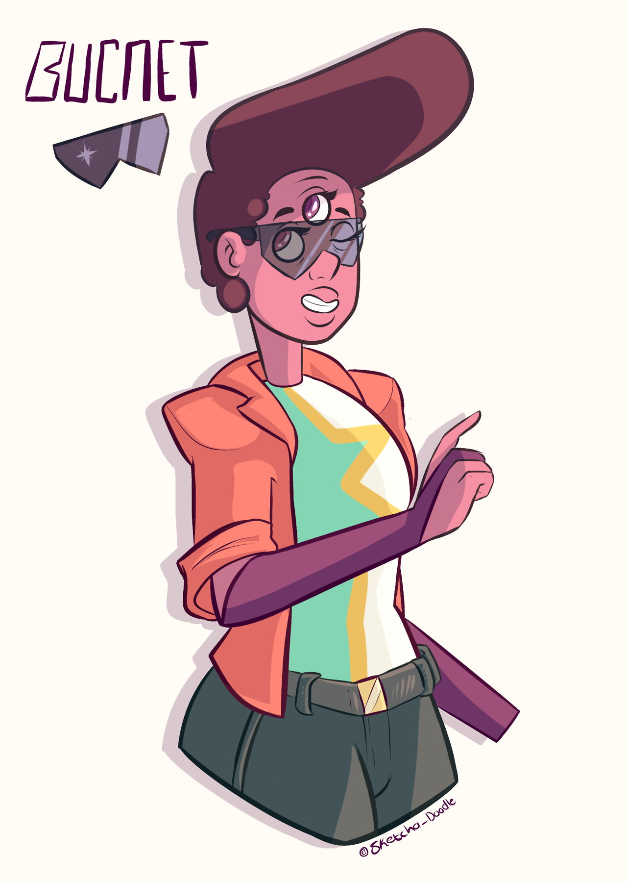 Bucnet! A fusion between Buck Dewey and Garnet. This is part 1 of a 6 part Human Gem Fusions series this week. Be sure to keep an eye out!