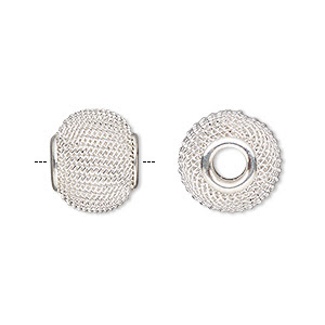Bead, Dione®, Silver-finished Steel, 14x12mm Mesh Rondelle 4mm Hole. Sold Per Pkg 6