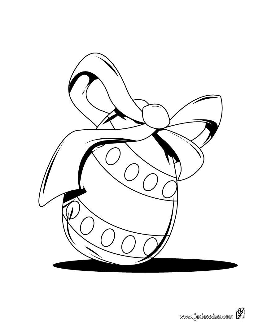 Coloriage d un oeuf de P¢ques décoré d un ruban