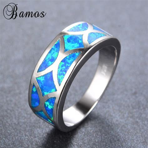 Bamos Geometric Style Ocean Blue Fire Opal Rings For Women