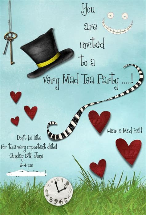 Mad Hatters Tea Party Invitation Template Free   Tea Party