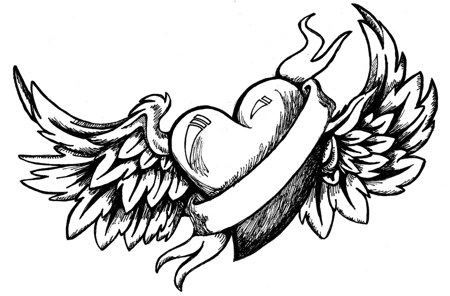 Heart Wings Drawing At Getdrawingscom Free For Personal Use Heart