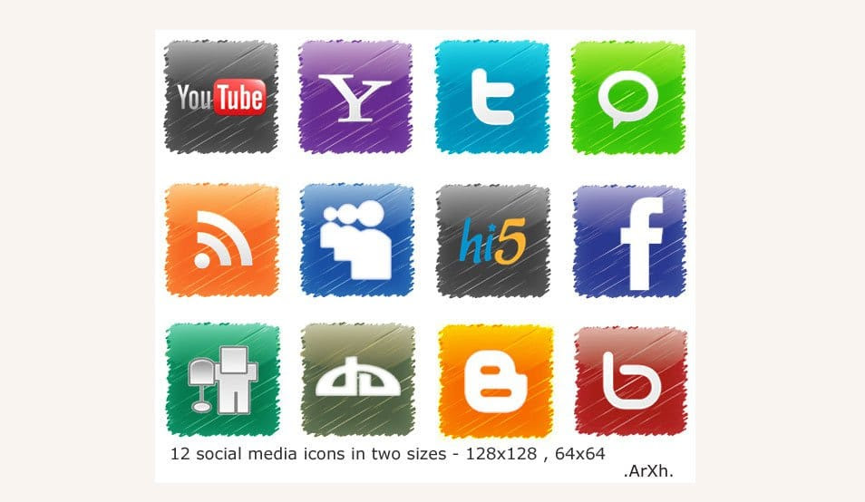 12 Social media icons