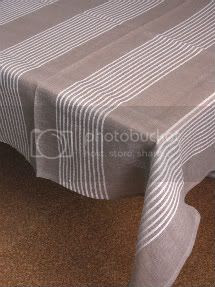 Natural Linen Striped Tablecloth