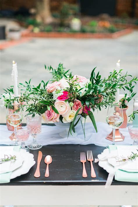 Rose and Mint Wedding Inspiration   Glamour & Grace