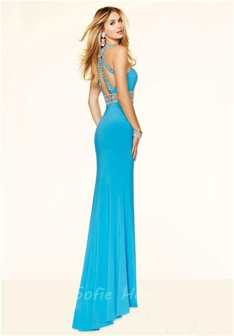 Fitted Halter High Slit Long Aqua Blue Beaded Evening Prom