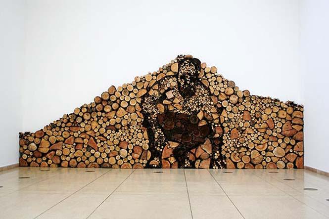 Τέχνη με στοίβες από ξύλα (3)