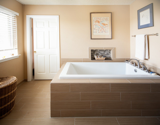 Faux Wood Tile Equals Calm Bathroom Remodel - Traditional ...
