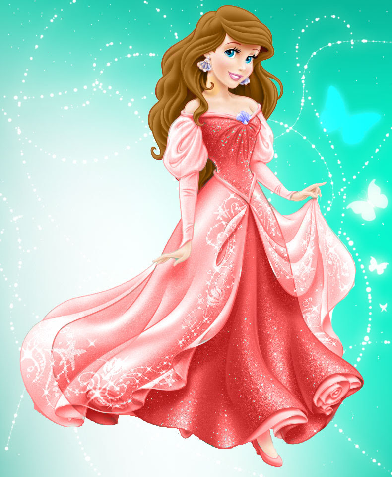 Ariel in red dress and brown hair - Disney Princess Photo ...