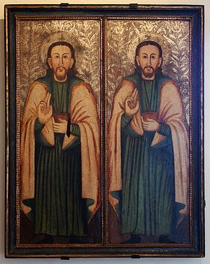 Saints Cosmas and Damian - an icon 17th cent.