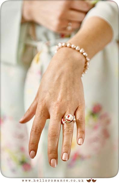 Bride showing engagement ring - www.helloromance.co.uk