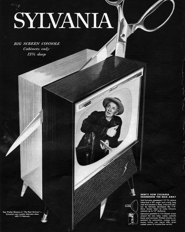 SYLVANIA BIG SCREEN CONSOLE TELEVISIONS LIFE 09/09/1957 p. 92