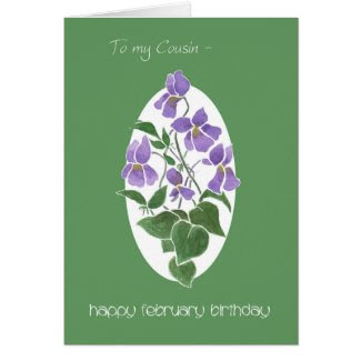 Violets, February Birthday Card for Cousin